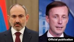 И. о. премьер-министра Армении Никол Пашинян (слева) и советник президента США по вопросам национальной безопасности Джейк Салливан