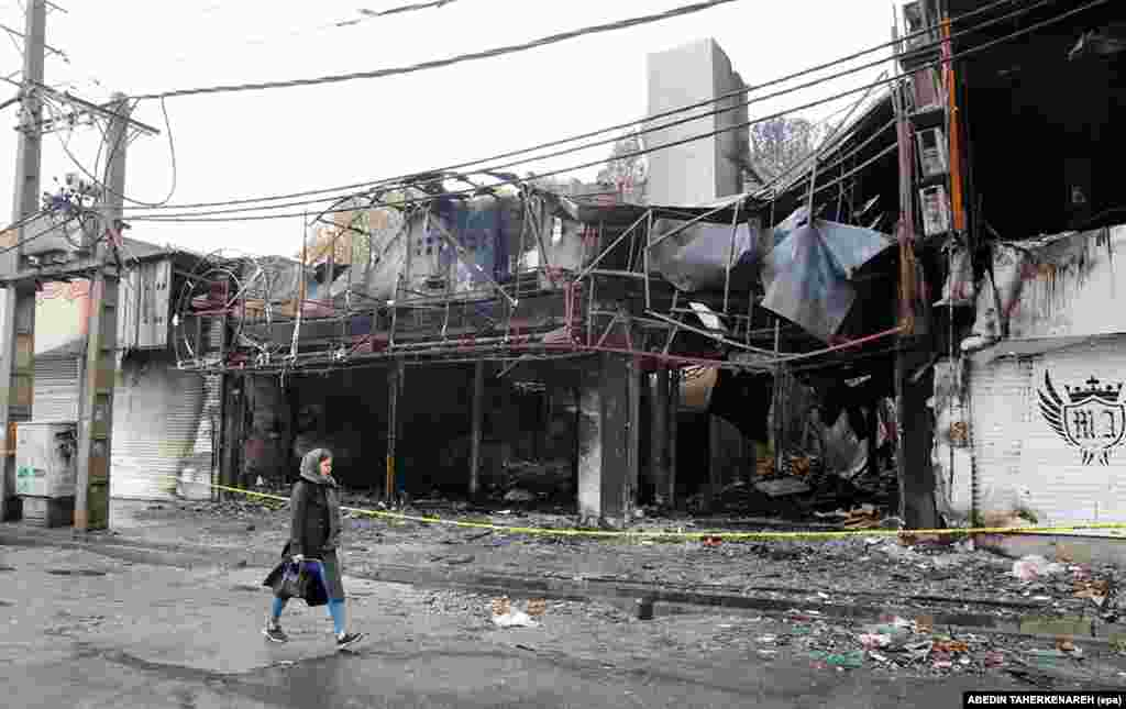 "A destroyed shopping center in Shariar. Around one-third of Iranians described themselves as ""suffering"" after U.S. sanctions were renewed in 2018."