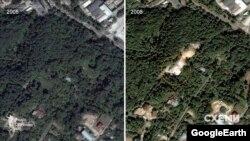 Судячи з історичних знімків Google Earth – маєток Горащенкова зведений на місці вирубаних дерев