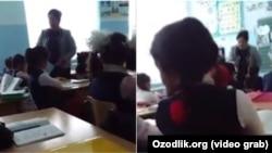 В одной из ферганских школ учительница начальных классов бьет и унижает своих учеников. Кадры с мобильного телефона.