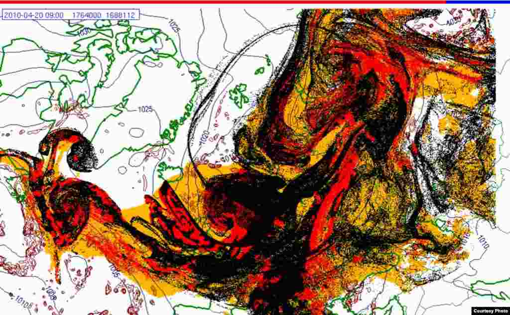 Projected spread of Icelandic ash cloud (20.4. 0900 UTC) - These images show a projection of the movement of the ash clouds from the Iceland volcanic eruption moving over Europe. The colors on the map represent: yellow: ash that has fallen by itself red: ash that has fallen by precipitation black: the actual ash cloud Source: Norwegian Meteorological Institute