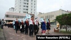 На снимке: школьники в Пхеньяне