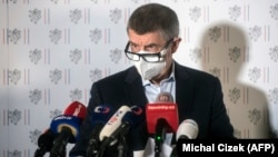 Czech Prime Minister Andrej Babis addresses the media on April 17, where it was announced that Prague would expel 18 Russian diplomats.