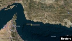 Location of tanker incidents in the Gulf of Oman