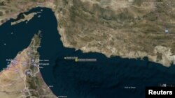 Location of tanker incident in the Gulf of Oman (Reuters)