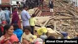 Непал астанасы Катмандудегі жер сілкінісінен кейінгі көрініс. 25 сәуір 2015 жыл.