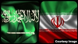 Combo flags of Iran and Saudi Arabia
