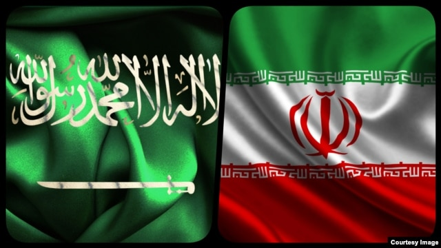 The flags of Iran (right) and Saudi Arabia
