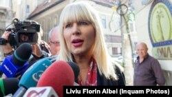2017: Elena Udrea în fața sediului DNA