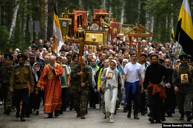 A religious procession commemorating Tsar Nicholas II and his family in Yekaterinburg earlier this year.
