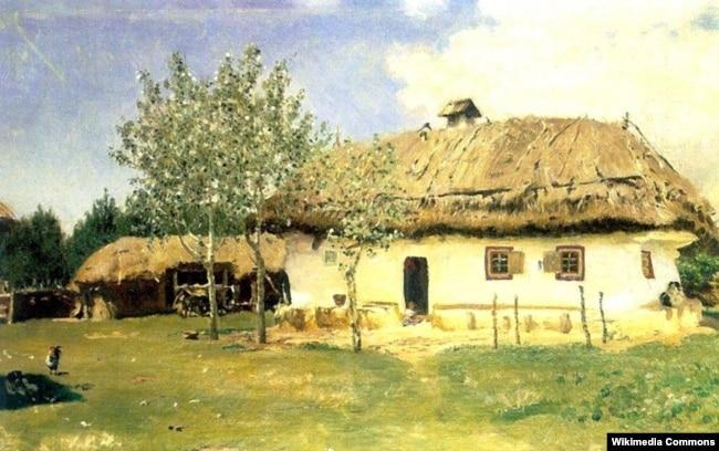 Робота Іллі Рєпіна (Ріпина) «Українська хата» (1880 рік), яка зберігається в Національному музеї «Київська картинна галерея»
