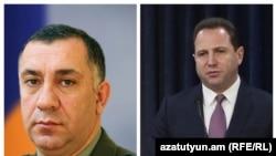 Заместитель начальника Генштаба Вооруженных сил Армении Степан Галстян (слева) и бывший министр обороны Армении Давид Тоноян