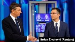 Borut Pahor (stânga) și Marjan Sarec, înaintea dezbaterilor televizate, 9 noiembrie 2017