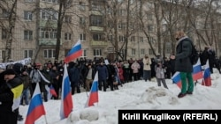 Diákok tüntetnek Vologdában (Oroszország), 2021. január 23.