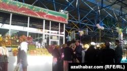 Customers queue for fresh meat in Ashgabat.