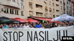 Sa jednog od protesta protiv nasilja u Beogradu nakon ubistva francuskog navijača Brisa Tatona u centru grada. Foto: Vesna Anđić