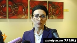 Armenia - Justice Minister Arpine Hovannisian speaks to reporters, Yerevan, 29Jan2016