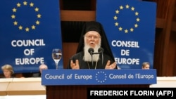 Вселенський патріарх Варфоломій I під час виступу на засідання Парламентської асамблеї Ради Європи у Страсбурзі (архівне фото)