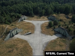 Shelters for Soviet fighter planes at the airfield in Ralsko