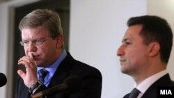 Средба на премиерот Никола Груевски и комесарот за проширување и соседска политика на ЕУ Штефан Филе, 2012.