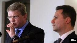 Средба на премиерот Никола Груевски и комесарот за проширување и соседска политика на ЕУ Штефан Филе