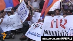 Armenia-protest action against electricity price hike in Gyumry, 15 jul 2015