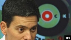 British Foreign Secretary David Miliband speaks on Ekho Moskvy radio in Moscow.