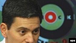 British Foreign Secretary David Miliband speaks on Ekho Moskvy radio in Moscow.