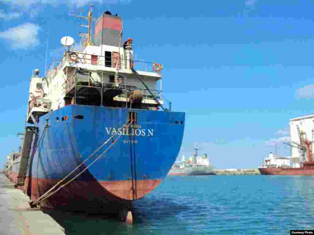 "The ""Vasilios N"" cargo ship - The Georgian-flagged vessel set sail for the Libyan port of Misurata in April 2010. Upon arrival, it was detained by port authorities after a Libyan client complained the ship's cargo of cement powder had been damaged in a storm. The ship and its Georgian, Ukrainian, and Azerbaijani crew were held in Misurata for the next 11 months."