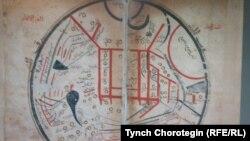 """Махмуд Кашгари Барсканинин """"Диванындагы"""" картада Ысык-Көл жана Теңир-Тоо дүйнөнүн чордону катары көрсөтүлгөн."""