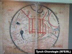 Махмуд Кашгари Барскани чийген арап тилиндеги дүйнө картасынын чордонунда Ысык-Көл жайгаштырылган. 1072-1077-жж.