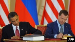 U.S. President Barack Obama (left) and his Russian counterpart Dmitry Medvedev signed the new START treaty in Prague on April 8. But will it be ratified?