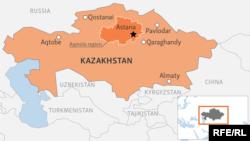 Мапа Казахстану із позначками регіонів, що потерпають від повеней