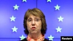 Բելգիա -- ԵՄ արտաքին քաղաքական հարցերի պատասխանատու Քեթրին Էշթոնը մամուլի ասուլիս է տալիս Ուկրաինայի վերաբերյալ անդամ երկրների արտգործնախարարների արտակարգ նիստից, հետո, Բրյուսել 3-ը մարտի, 2014թ.