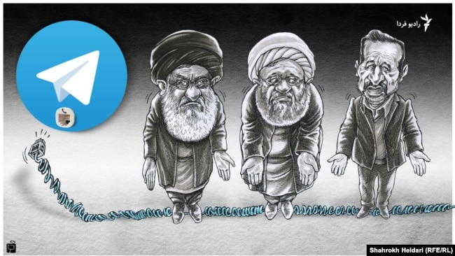 A graphic by Shahrokh Heidari For Fadio Farda about Iran blocking voice calling feature on Telegram, April 2017