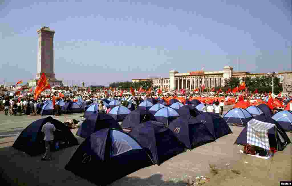 Demonstrators camp out in tents during the mass protest movement.