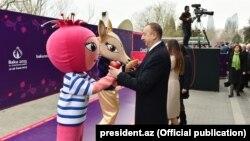 Azerbaijan - President Ilham Aliyev joins Novruz (Norouz) festivities in Baku with his wife Mehriban, Baku, 19 March 2015.