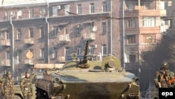 Armenia -- Armenian troops and APCs patrol the streets of Yerevan, 02 March 2008