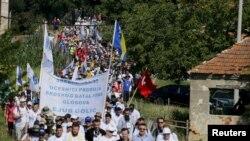 Сребреницада 1995-жылы серб күчтөрү тарабынан 8 миң босниялык мусулман өлтүрүлгөн. Окуянын жыйырма жылдыгына арналган жүрүш. Босния жана Герцеговина. 8-июль, 2015