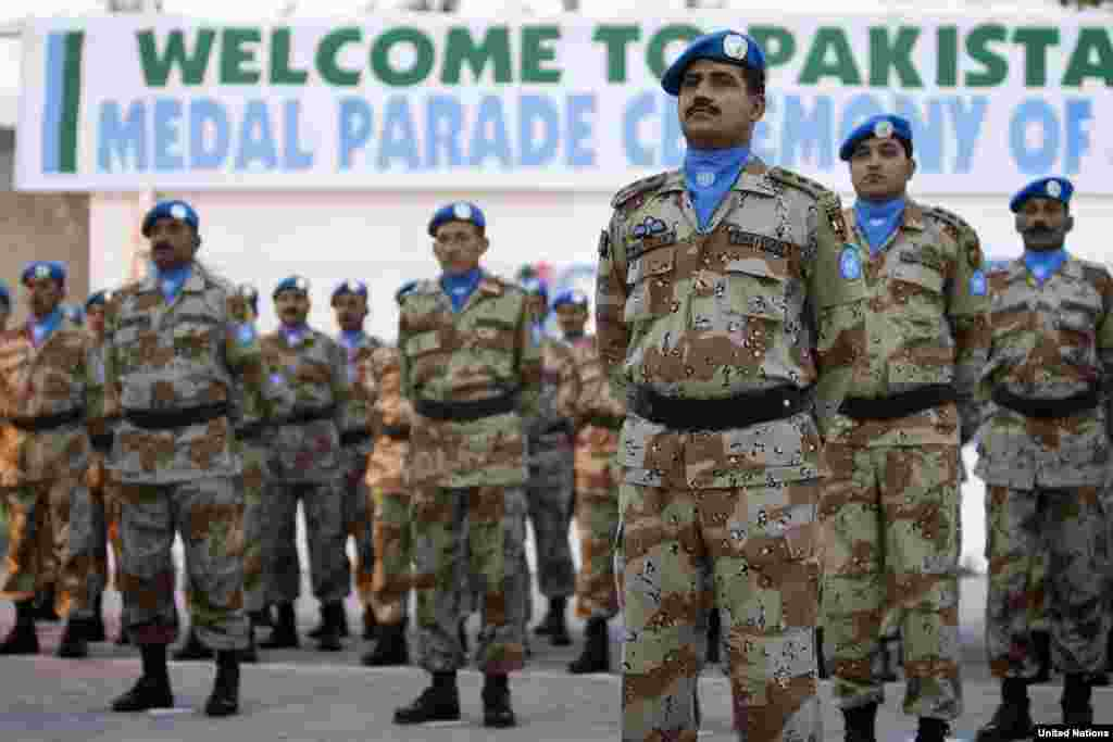 Pakistani soldiers receive the UN medal of recognition for their contribution to the United Nations mission in Haiti.