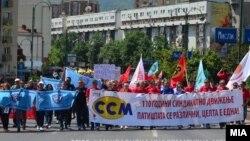 Протест / Марш на синдикатите по повод 1 мај во Скопје