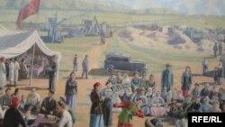 Sărbătoarea kolhozului, tablou din 1937, expus la o expoziție la Almaty.
