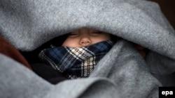 کودک آواره در مرز مقدونیه و صربستان