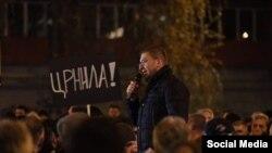 Архивска фотографија- претседателот на ВМРО-ДПМНЕ Христијан Мицкоски на протестен марш во Скопје