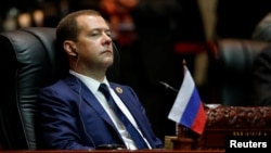 Расейскі прэм'ер-міністар, лідэр кіроўнай партыі «Адзіная Расея» Дзьмітры Мядзьведзеў