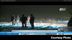 Обломки самолета АН-72. Скриншот с новостного репортажа телеканала 24KZ.