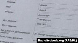 Дані Андрія Аксьонова в офіційній базі платників податків Росії