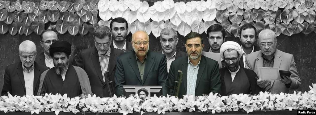 محمدباقر قالیباف و احمد امیرآبادی در مراسم سوگند هیئت رئیسه مجلس