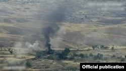 Nagorno-Karabakh -- A screenshot of an official Armenian video of fighting around Karabakh, October 7, 2020.