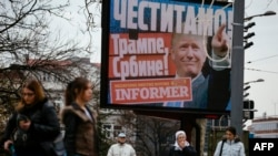 Bilbord u Beogradu nakon pobede Trampa na izborima